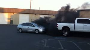 cummins truck rollin coal dodge vs prius youtube