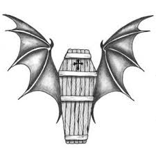awesome black and white wooden coffin with bat wings and