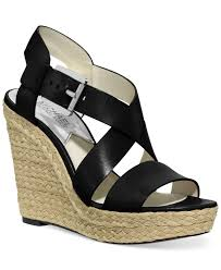 lyst michael kors michael giovanna platform wedge sandals in black