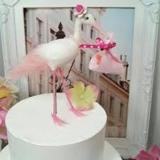 stork cake topper sale baby shower girl stork bird cake from missrosedanae on etsy