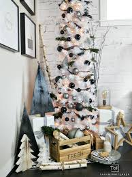 taryn creates this modern black and white christmas tree display