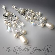 pearl chandelier earrings elizabeth and pearl bridal earrings by tztudio