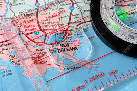 New Orleans City Map by Usa Map With The City Of New Orleans And A Compass With Magnifying
