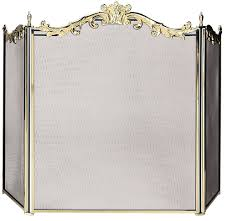 uniflame 3 panel fully cast solid brass fireplace screen