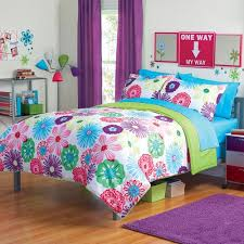 Twin Bedding Sets Girls by Fun Bright Green Pink Purple Bright Flower Floral Twin