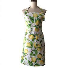 tablier cuisine original retro yellow lemons vintage kitchen cooking apron avental de
