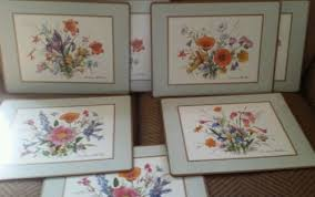 vintage set of 7 pimpernel placemats american flowers