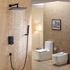 dree black wall mounted rain shower u0026 handheld shower set solid brass