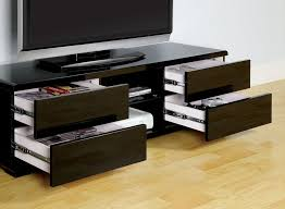 Black Tv Cabinet With Drawers Cerro Black Lacquer Finish Tv Stand