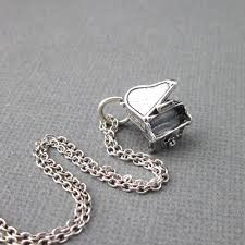 handmade silver charm necklace images Sterling silver 925 dimensional grand piano charm chain necklace jpg
