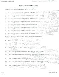 pictures mole ratios and mole to mole conversions worksheet