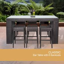 Swivel Wicker Patio Chairs bar table set with backless barstools 7 piece outdoor wicker patio