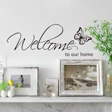 new 26 71cm black vinyl english words welcome to my home butterfly