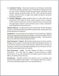 The Health Barn Barn Manager Position Klamath Animal Shelter Large Animal Division