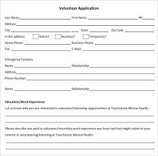 volunteer application template u2013 15 free word pdf documents