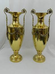 Decorative Urns Vases 19th Century Pair Of Polished Brass Decorative Urns Or Vases With