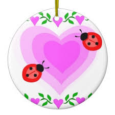 hearts bug paper clip ornaments