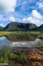 Table Top Mountain by The Reflection Of A Tabletop Mountain Above A Reedlined Wetland