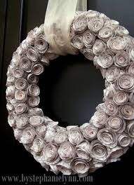 diy faux curled rosewood wreath made from rolled recycled book