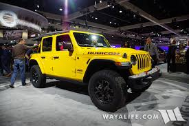 first jeep wrangler 2017 la auto show yellow jeep jl wrangler rubicon unlimited
