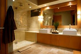 bathroom travertine bathroom tile and floor with bath up for