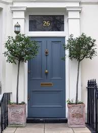 front door ideas potted trees paint colors and navy blue color in