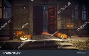 house porch at night carved halloween pumpkins welcome sign on stock illustration