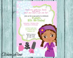 diy sassy spa party invitation african american little