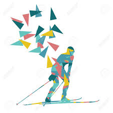 female woman skiing vector background winter abstract sport