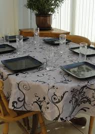 decor tips awesome grey fleur oval tablecloth with dining set and