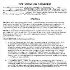 sample master service agreement 8 documents in pdf word