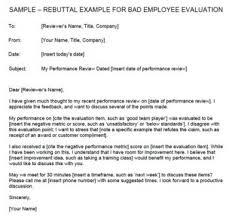 Appraisal Rebuttal Letter rebuttal exle for bad employee evaluation
