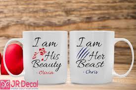 custom name printed couple mugs with beauty and beast theme personalised name printed couple mugs with beauty and beast theme jr decal