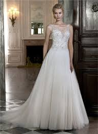 illusion neckline wedding dress line boat illusion neckline sheer back sleeveless tulle beaded