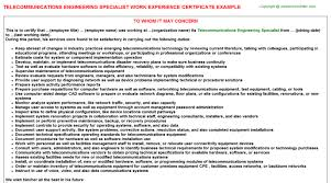 telecommunications engineering specialist work experience certificate