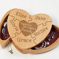 personalized wooden jewelry box personalized wood heart jewelry box we make a family