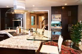 glass vent hood kitchen modern with bar height stools bar