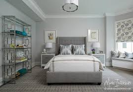 Blue And Gray Bedroom Gray Tufted Wingback Bed With White Nightstands With Gray Drawers