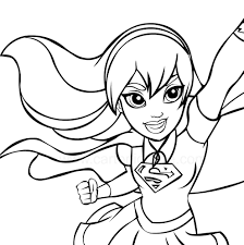 supergirl in the foreground dc superhero girls coloring page