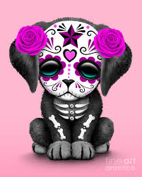 pink day of the dead sugar skull digital by jeff bartels