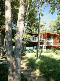 Wooden Material Element Interior Design Natural Contemporary Lake House With Lake View