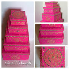 Indian Wedding Card Box Set Of 5 Henna Decorated Card Board Boxes Wedding Gift Box