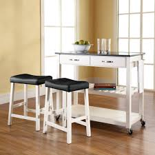 furniture white portable kitchen island with seating plus black
