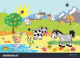 cartoon farm animals sheep horse cow stock vector 402779305