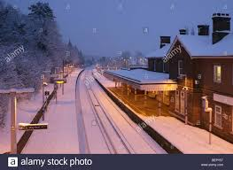 Snow At Home by Otford Railway Station In Winter Snow At Dusk No Trains Ran That