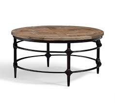 reclaimed wood round coffee table parquet reclaimed wood round coffee table pottery barn ca