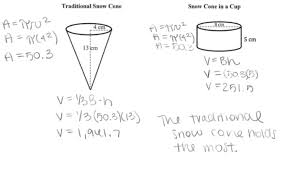 Area Formula by Snow Cones Students Are Asked To Solve A Problem That Requires