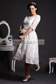 tea length wedding gowns a line scoop neck half sleeves layered lace tea length wedding