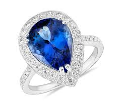 tanzanite blue rings images Pear shaped tanzanite and diamond halo cocktail ring in 18k white