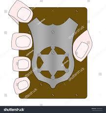 illustration hand holding blank police badge stock illustration